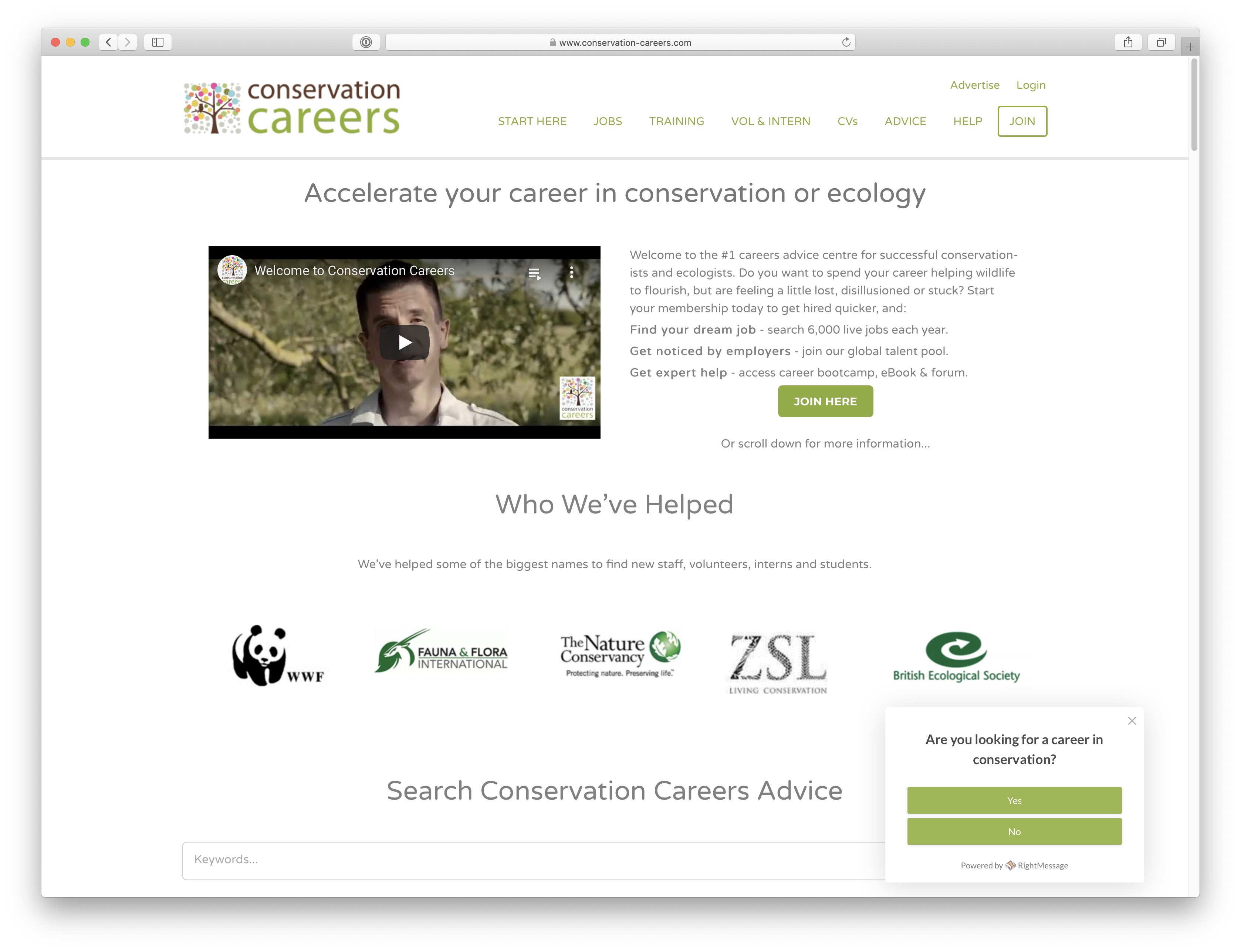 Conservation Careers homepage